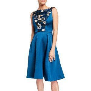 New Kay Unger Blue Scuba Sequin Fit Flare Dress